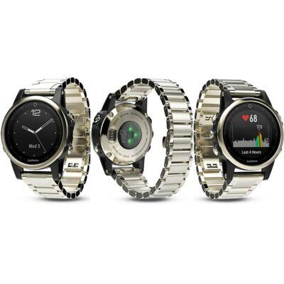 Garmin Fenix 5S HR GPS-es multisport óra, fém óraszíjjal, arany 010-01685-15